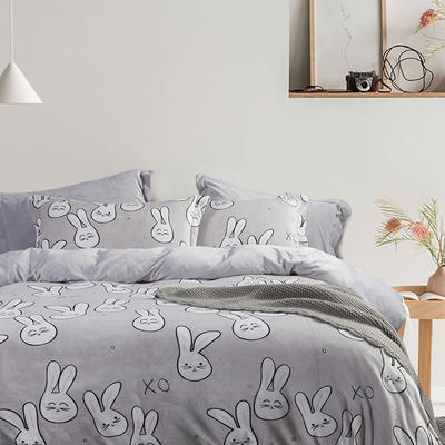 2019款ins超柔牛奶绒印花四件套 1.5m(5英尺)床 月兔 灰