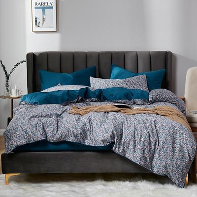 2020新款60S数码印花长绒棉 1.8m(6英尺)床 凯西 蓝