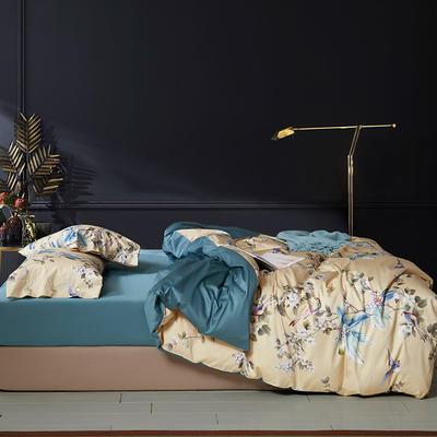 2020新款60S数码印花长绒棉 1.8m(6英尺)床 梅 黄