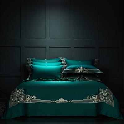 2020秋冬100支匹马棉欧式奢华绣花系列 1.8m(6英尺)床 巴洛克睿智绿