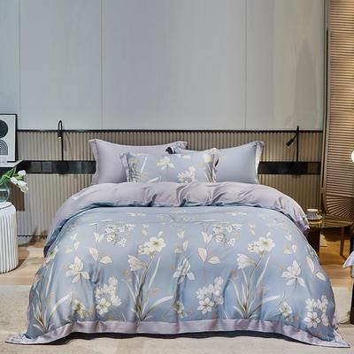 2021款60S莱赛尔天丝四件套 1.8m(6英尺)床 恬莹风兰-绿