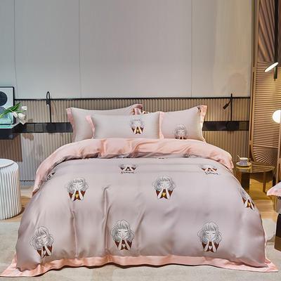 2021款60S莱赛尔天丝四件套 1.8m(6英尺)床 甜梦-粉