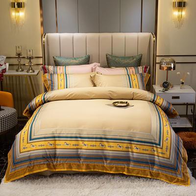 2021新款全棉100支匹马棉欧式轻奢数码印花特蕾莎系列 1.8m床单款四件套 特蕾莎 -黄