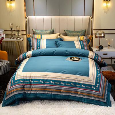 2021新款全棉100支匹马棉欧式轻奢数码印花特蕾莎系列 1.8m床单款四件套 特蕾莎 -蓝