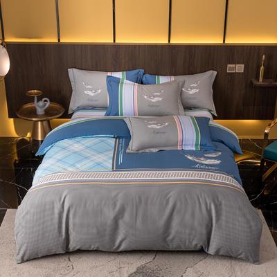 2021秋冬新款全棉生态磨毛时尚大版系列 1.8m床单款四件套 布鲁斯 灰