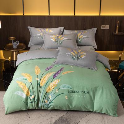 2021秋冬新款全棉生态磨毛时尚大版系列 1.8m床单款四件套 金色麦浪 绿