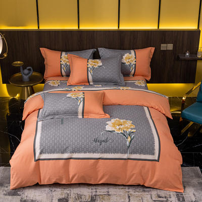2021秋冬新款全棉生态磨毛时尚大版系列 1.8m床单款四件套 丽珊 红