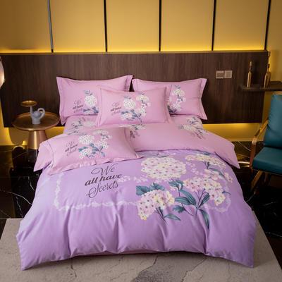 2021秋冬新款全棉生态磨毛时尚大版系列 1.8m床单款四件套 奈雪 紫