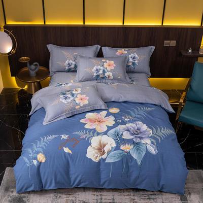 2021秋冬新款全棉生态磨毛时尚大版系列 1.8m床单款四件套 清影 蓝