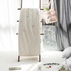 小雏菊毛巾绣水洗纯棉夏被 1.5*2米 小雏菊白色
