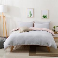 针织棉四件套新疆天竺棉四件套无印风裸睡条纹三件套针织被套枕套 1.2米床三件套 (床单款) 粉灰细条