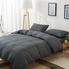 针织棉四件套新疆天竺棉四件套无印风裸睡条纹三件套针织被套枕套 1.2米床三件套 (床单款) 黑白细条