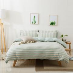 针织棉四件套新疆天竺棉四件套无印风裸睡条纹三件套针织被套枕套 1.2米床三件套 (床单款) 混绿彩条