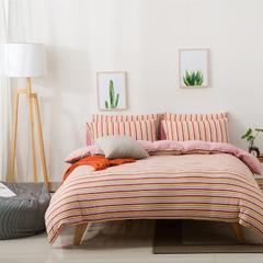针织棉四件套新疆天竺棉四件套无印风裸睡条纹三件套针织被套枕套 1.2米床三件套 (床单款) 橘红彩条