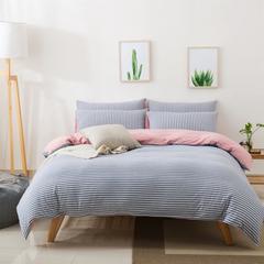 针织棉四件套新疆天竺棉四件套无印风裸睡条纹三件套针织被套枕套 1.2米床三件套 (床单款) 蓝粉细条