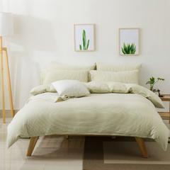 针织棉四件套新疆天竺棉四件套无印风裸睡条纹三件套针织被套枕套 1.2米床三件套 (床单款) 绿棉细条