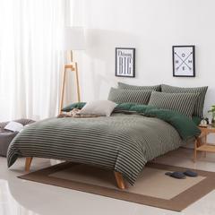 新疆针织棉天竺棉无印风裸睡条纹四件套/三件套 1.2米床三件套 (床单款) 墨绿中条