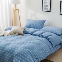 针织棉四件套新疆天竺棉四件套无印风裸睡条纹三件套针织被套枕套 1.2米床三件套 (床单款) 天蓝宽条