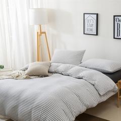 针织棉四件套新疆天竺棉四件套无印风裸睡条纹三件套针织被套枕套 1.2米床三件套 (床单款) 雅白细条