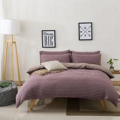 针织棉四件套新疆天竺棉四件套无印风裸睡条纹三件套针织被套枕套 1.2米床三件套 (床单款) 紫咖中条