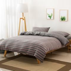 针织棉被套天竺棉被套床单枕套四件套无印风 1.5*2.0米 灰粉宽条