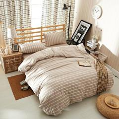 水洗棉四件套 条纹系列 1.2米床床单款 米宽条