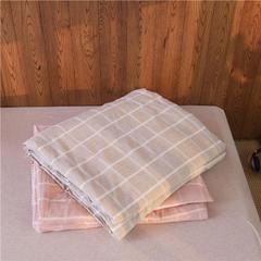 棉麻活套可拆卸水洗蚕丝被 150x200cm 粉色格