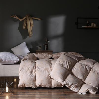 2018新款-色织全棉大提花水洗白鹅绒被被子被芯 200X230cm2.5斤 色织提花