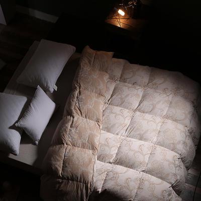 2018新款-色织全棉大提花水洗白鸭绒被被子被芯 200X230cm2.6斤 色织提花