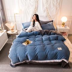 2018秋冬新款韩式牛奶花边魔法绒四件套 1.2m(4英尺)床 宝蓝-深灰(格子)