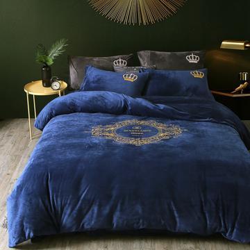 欧式宝宝绒四件套 标准(1.5m-1.8m床) 北欧风情-蓝