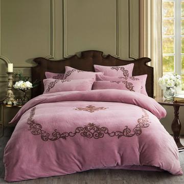 四件套 加厚魔法绒毛巾绣花四件套盛世年华 标准(1.5m-1.8m床)床单款 盛世年华-豆沙