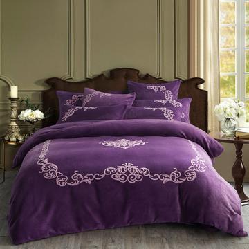 四件套 加厚魔法绒毛巾绣花四件套盛世年华 标准(1.5m-1.8m床)床单款 盛世年华-魅紫
