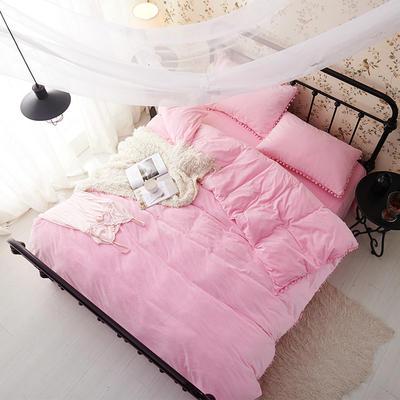 纯色球球水晶绒四件套-天使宝贝系列 1.5m(5英尺)床 粉色