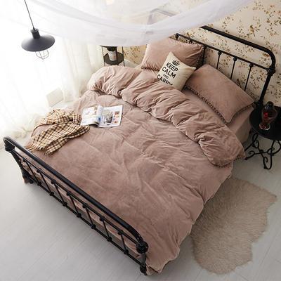 纯色球球水晶绒四件套-天使宝贝系列 1.5m(5英尺)床 咖啡色