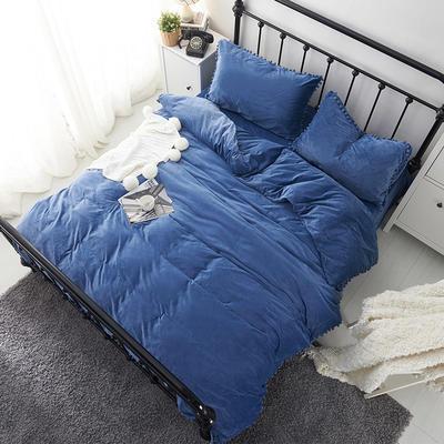 纯色球球水晶绒四件套-天使宝贝系列 1.5m(5英尺)床 深蓝
