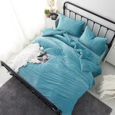 纯色球球水晶绒四件套-天使宝贝系列 1.5m(5英尺)床 天空蓝