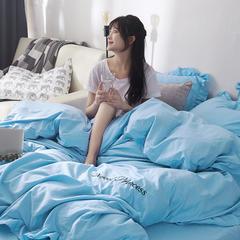 2018笙意全棉133X74纯色绣花工艺四件套 2.0m(6.6英尺)床 天空蓝