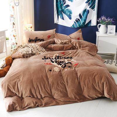 毛巾绣水晶绒四件套-潮牌系列 1.5m(5英尺)床 伊万卡-咖啡