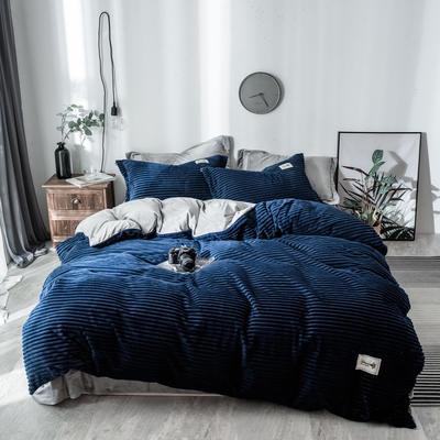 2018新款-魔法绒四件套 三件套1.2m(4英尺)床 藏青