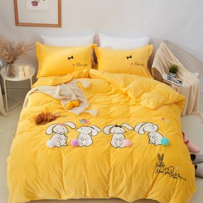 保暖水晶绒四件套-卡通系列 1.2m(4英尺)床 可爱兔兔-黄