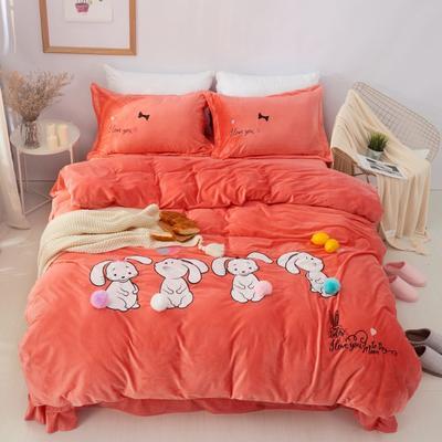 保暖水晶绒四件套-卡通系列 1.2m(4英尺)床 可爱兔兔-橘