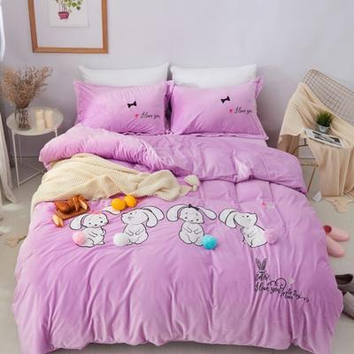 保暖水晶绒四件套-卡通系列 1.2m(4英尺)床 可爱兔兔-紫