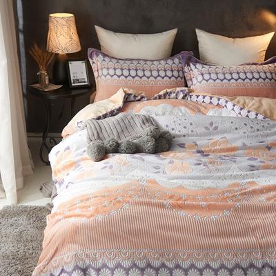 2020新款冬季-高克重牛奶绒水晶绒雕花绒四件套绒类套件 床单款四件套1.5m(5英尺)床 醉花荫-黄