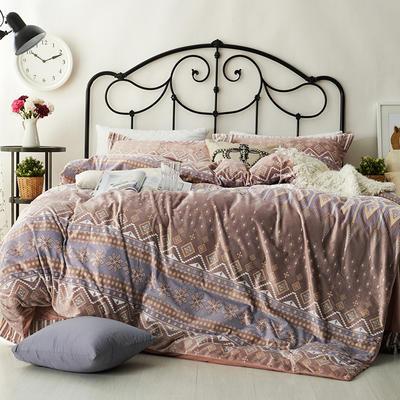 2020新款冬季-高克重牛奶绒水晶绒雕花绒四件套绒类套件 床单款四件套2.0m(6.6英尺)床 美式情调-灰