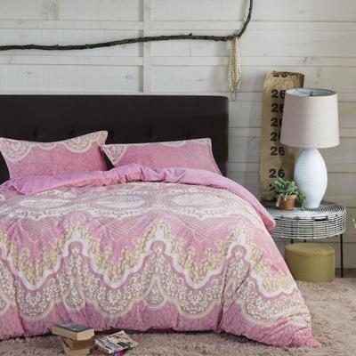 2020新款冬季-高克重牛奶绒水晶绒雕花绒四件套绒类套件 床单款四件套2.0m(6.6英尺)床 千黛名媛-红