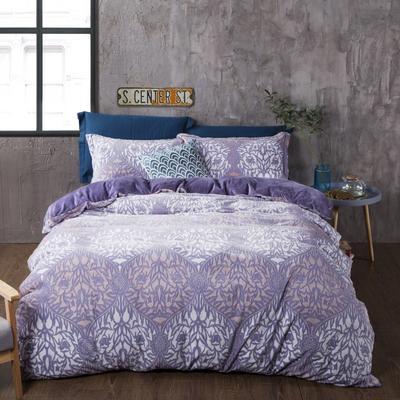 2020新款冬季-高克重牛奶绒水晶绒雕花绒四件套绒类套件 床单款四件套2.0m(6.6英尺)床 时空沙漏-青花