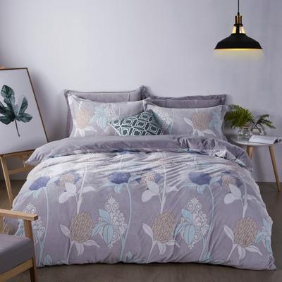 2020新款冬季-高克重牛奶绒水晶绒雕花绒四件套绒类套件 床单款四件套2.0m(6.6英尺)床 伊甸花园
