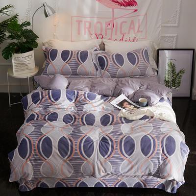 2020新款冬季-高克重牛奶绒水晶绒雕花绒四件套绒类套件 床单款四件套2.0m(6.6英尺)床 珠联璧合-灰