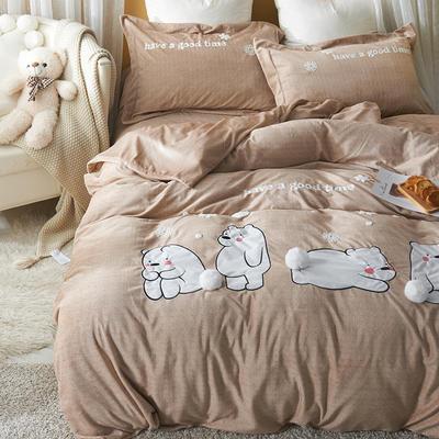 2020新款冬季-安哥拉绒牛奶绒宝宝绒绒类四件套 床单款四件套1.5m(5英尺)床 呆萌熊